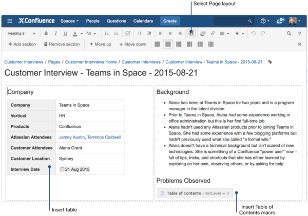 How to turn customer interviews into insights using for Confluence create page template