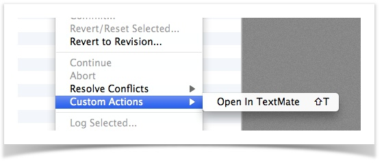 Custom action to open TextMate