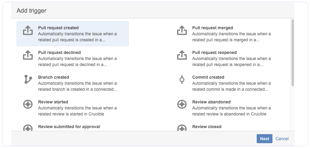 Automatic workflow triggers in JIRA Software and Bitbucket