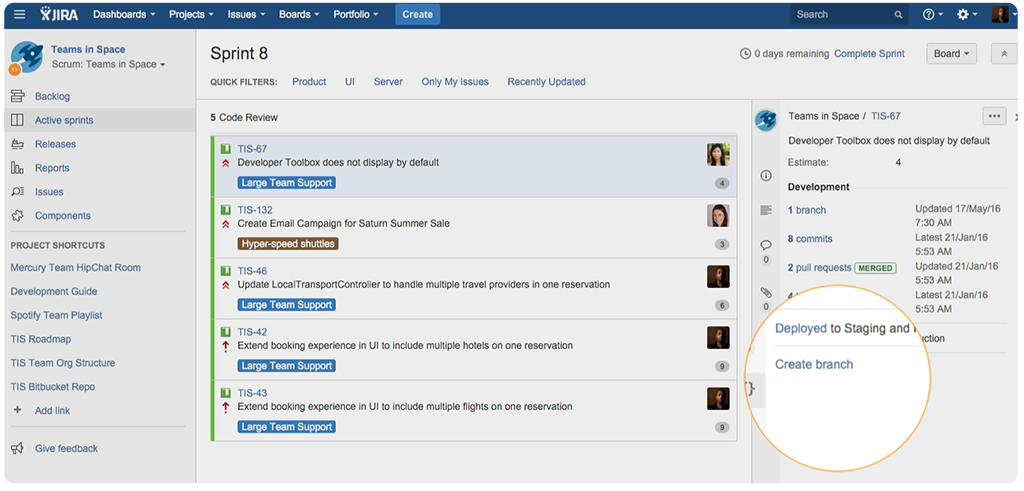 Create branches with JIRA Software and Bitbucket
