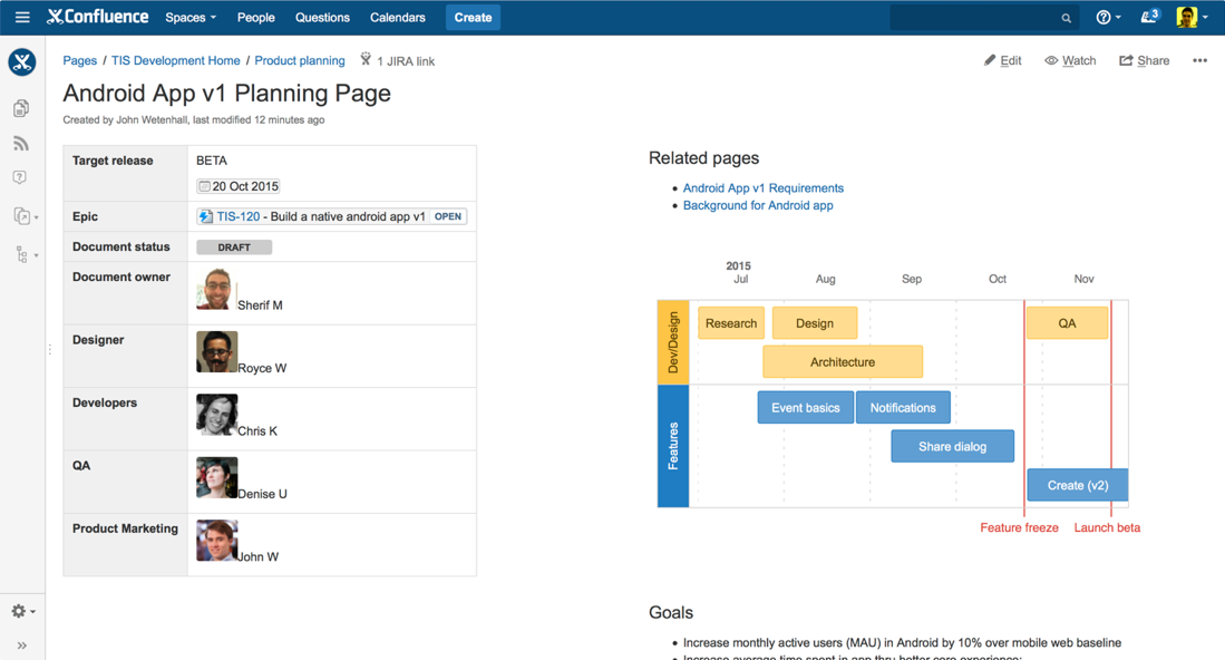 A Central Release Planning Page Helps Keep Everyone On Track