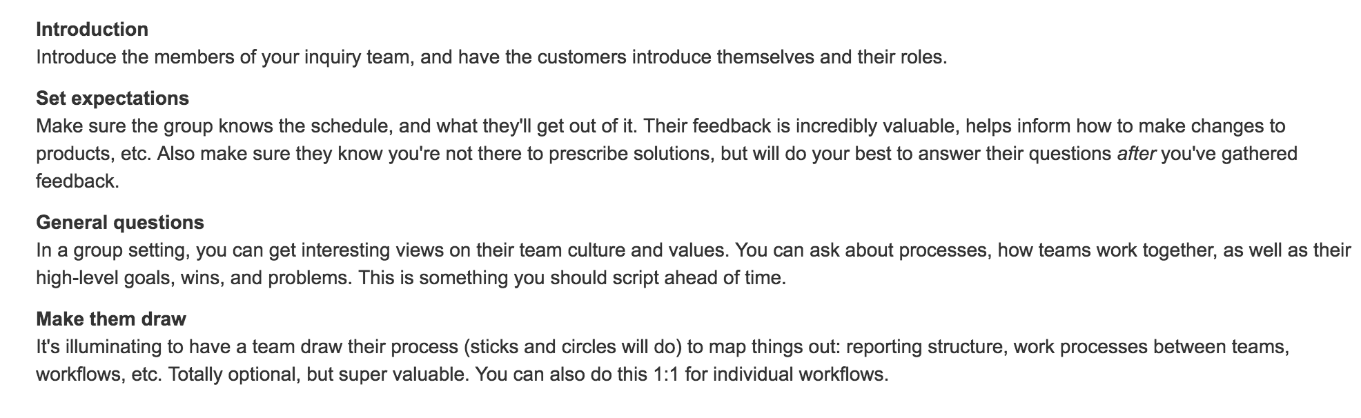 contextual inquiry know thy customer team playbook show me
