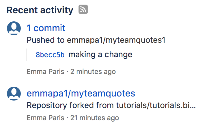 Bitbucket activity stream