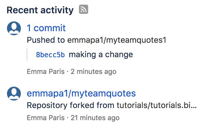 Flux d'activité Bitbucket