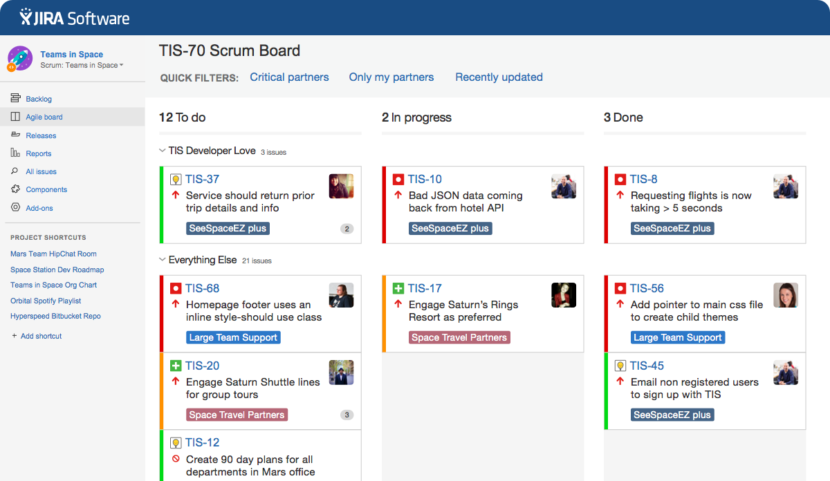 JIRA Software Kanban board Screenshot